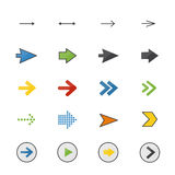 Arrow Color Icons Set Of Control Vector Illustration Style Colorful Flat Icon Royalty Free Stock Photos
