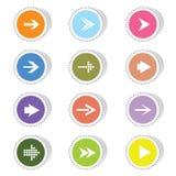 Arrow color vector art on a sticker. Arrow color vector illustration on a sticker on a white stock illustration