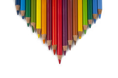 Arrow of colored pencils Stock Photos