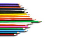 Arrow of colored pencils. On white vector illustration