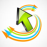 Arrow with colorful curves Royalty Free Stock Photography