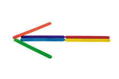Arrow Colorful  Ice cream sticks. Isolated on white background Stock Photos