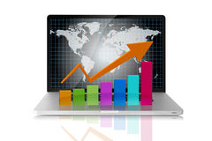 Arrow colors. Graph showing high growth anything stock illustration