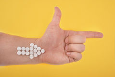 The arrow is combined from white tablets Royalty Free Stock Photo