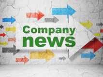 Arrow with Company News on grunge wall background. News concept:  arrow with Company News on grunge textured concrete wall background, 3d render Royalty Free Stock Image