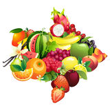 Arrow composed of different fruits with leaves Royalty Free Stock Photography