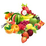 Arrow composed of different fruits with leaves Stock Photography