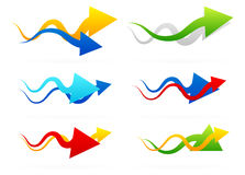 Arrow compositions. Arrow composition set with different shaped, color arrows royalty free illustration