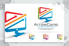 Arrow computer vector logo with modern concept design ,  illustration of computer as a symbol of technology and template digital royalty free illustration