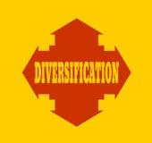 Arrow cross with word diversification. Way choosing metaphor stock illustration