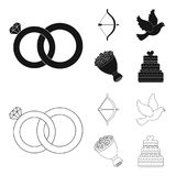 Arrow cupid, dove, bouquet of flowers, wedding cake. Weddin gset collection icons in black,outline style vector symbol. Arrow cupid, dove, bouquet of flowers Royalty Free Stock Images