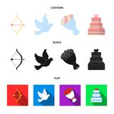 Arrow cupid, dove, bouquet of flowers, wedding cake. Weddin gset collection icons in cartoon,black,flat style vector. Arrow cupid, dove, bouquet of flowers Stock Photo