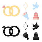 Arrow cupid, dove, bouquet of flowers, wedding cake. Weddin gset collection icons in cartoon,black style vector symbol. Arrow cupid, dove, bouquet of flowers Royalty Free Stock Photo