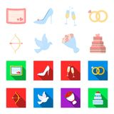 Arrow cupid, dove, bouquet of flowers, wedding cake. Weddin gset collection icons in cartoon,flat style vector symbol. Stock illustration Royalty Free Stock Photography