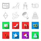 Arrow cupid, dove, bouquet of flowers, wedding cake. Weddin gset collection icons in outline,flat style vector symbol. Stock illustration Stock Photos