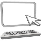 Arrow cursor click on 3D computer monitor keyboard Stock Image