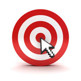 Arrow cursor clicking in the center of the red dart board or target over white. Background Stock Image