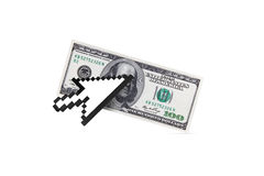 Arrow Cursor on Dollar Banknote Royalty Free Stock Images