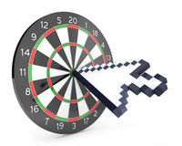 Arrow cursor hits the dartboard Royalty Free Stock Photography