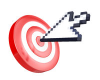 Arrow cursor hits the target Stock Photos