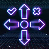 Arrow or cursor icons with retro 80s neon game style. Controller keys with direction cross, on and off buttons on gamepad Royalty Free Stock Image