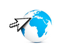 Arrow Cursor Pointing Earth Map Globe Royalty Free Stock Photo