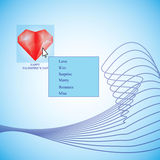 Arrow cursor pushing heart button on touchscreen Stock Photography