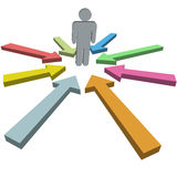 Arrow cursors in colors point at man in the middle Royalty Free Stock Images