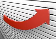 Arrow. 3D rendering of a growing red arrow Stock Images