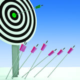 Arrow On Dartboard Showing Efficiency Royalty Free Stock Images