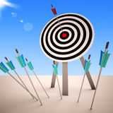 Arrow On Dartboard Showing Successful Shot Royalty Free Stock Photo
