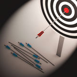 Arrow On Dartboard Shows Failure Or Failed Stock Photos