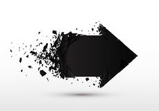 Arrow with debris isolated. 3d black sign with explosion effect. Motion vector illustration Stock Photos