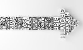 Arrow depicting growth with lots of business words. 3d visual of an arrow viewed form above with keywords in Stock Photo