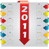 Arrow design 2011 calendar. Colored arrow design 2011 calendar Royalty Free Stock Photos