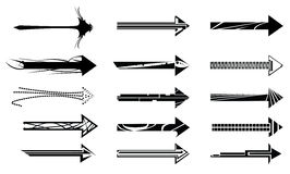 Arrow design elements. Fifteen black abstract arrows isolate on a white background Royalty Free Stock Photos