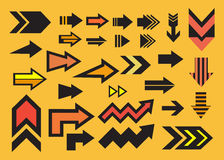 Arrow design set icon. With yellow background Royalty Free Stock Photos