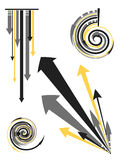 Arrow Designs. Stylized yellow, black and gray arrow designs illustration Royalty Free Stock Photo