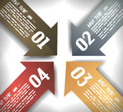 Arrow Designs Infographics Template. With 5 arrows with space for text. Paper effect with delicate shadows Royalty Free Stock Image