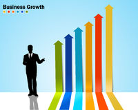 Arrow diagram infographics with business growth. Created arrow diagram infographics with business growth Royalty Free Stock Photo