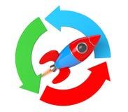 Arrow Diagram with Rocket. 3d Rendering Stock Photos
