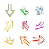 Arrow dimensional icons, set of nine positions Stock Image