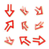 Arrow dimensional icons, set of nine positions Stock Photography