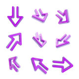 Arrow dimensional icons, set of nine positions Royalty Free Stock Photos