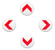 Arrow, direction - buttons. Red arrow, direction - buttons isolated in white Royalty Free Stock Photography