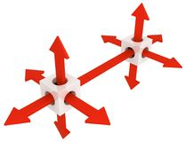 Arrow Direction Cube Pair. Red symbolic arrows emerging from cubes pair connected, 3d illustration, horizontal, over white Stock Photos