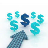 Arrow direction with dollars signs. 3d blue arrow direction and dollars signs with space for your text Stock Photos