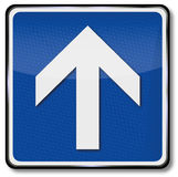 Arrow and direction indication to the front. Traffic sign with arrow and direction indication to the front Stock Photo
