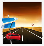 The arrow direction, red bags. Vector symbol, the arrow direction, red bags Stock Image