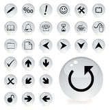 Arrow and directional icons in grey color. Tones Royalty Free Stock Images